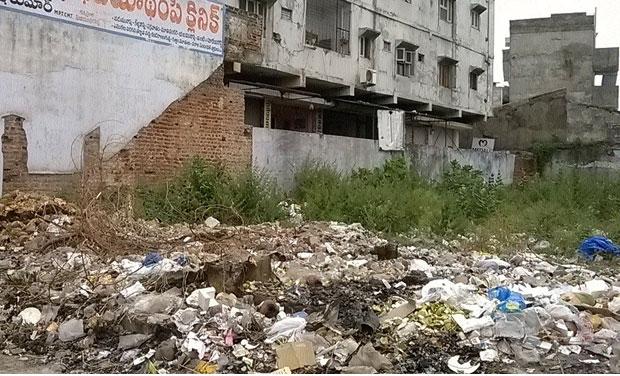 Biomedical wastes disposed at Vijaya Talkies lane in Hanamkonda.