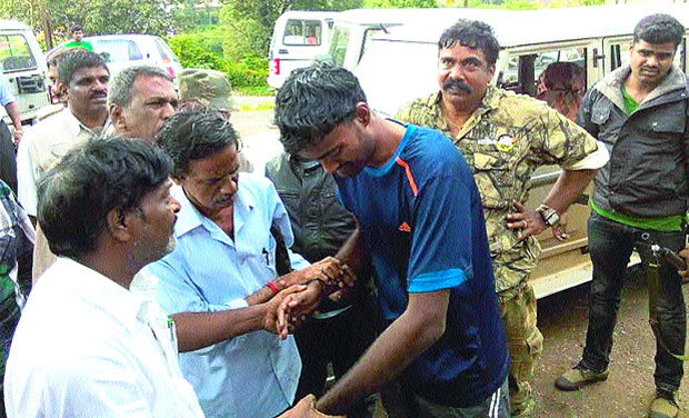 Srikanth Balaji after being rescued by the NDRF team (Photo: DC)
