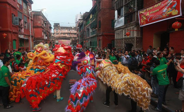 Locals celebrate the Chinese New Year in India. (File Photo)