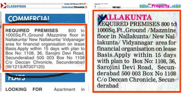 The classified ad that was published in DC on Feb. 24, 2013 (above) was published in ToI with DC box no., address and title on March 03, 2013