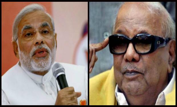 Prime Minister Narendra Modi and DMK chief M Karunanidhi (Photo: DC)