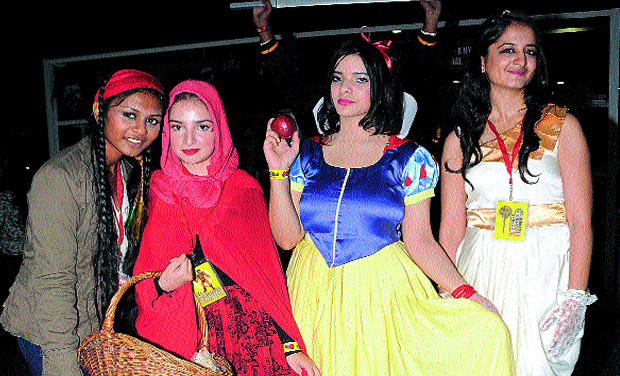 (From left) Roweena, Rumana, Feroze and Sakshi dressed as Jack Sparrow, Red Riding Hood, Snow White and Cleopatra.  (Photo: DC)
