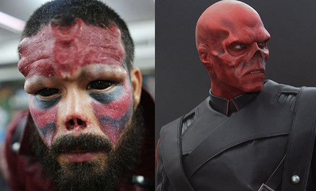 02975440f Man cuts off nose, alters face to look like Marvel villain Red Skull