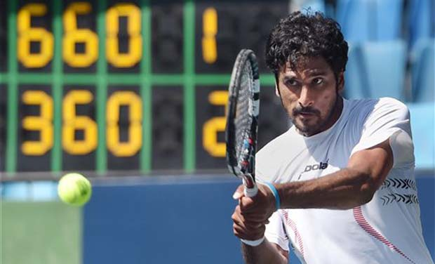 India's Saketh Myneni in action against Yannick Mertens of Belgium during the quarter final match of ATP Challenger tour at KSLTA in Bengaluru. (Photo: AP)