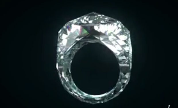 The world's first all-diamond ring is carved from a single diamond, with no metal support.