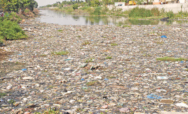 A view of the Buckingham canal dumped with plastic wastes. These floating wastes disrupt the flow of water through the canal. (Photo: DC)