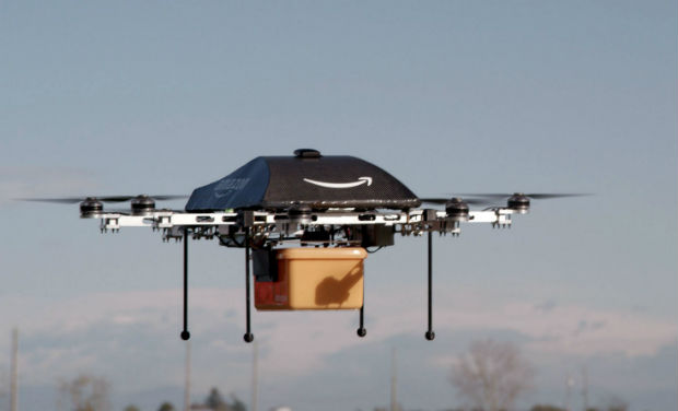 A flying 'octocopter' mini-drone that would be used to fly small packages to consumers.