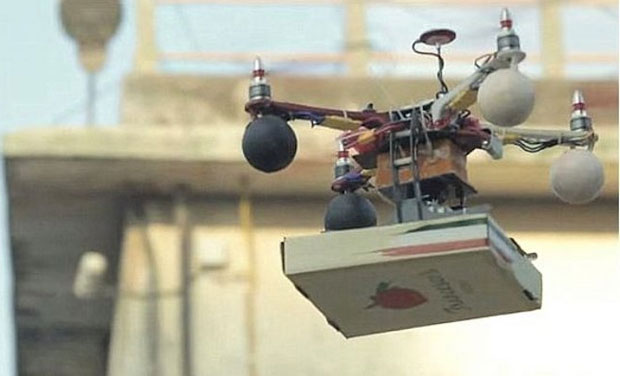 Promotional shoot of a drone delivering pizza in Mumbai. (Photo: DC)