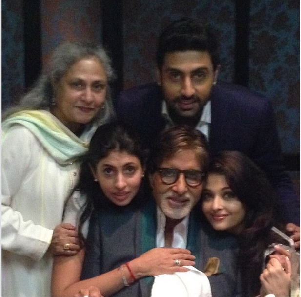 The Family Who Clearly Seemed To Be Getting Ready Ring In Amitabh Bachchans Big 72nd Huddled Together For More Pictures Abhishek Shared Picture On