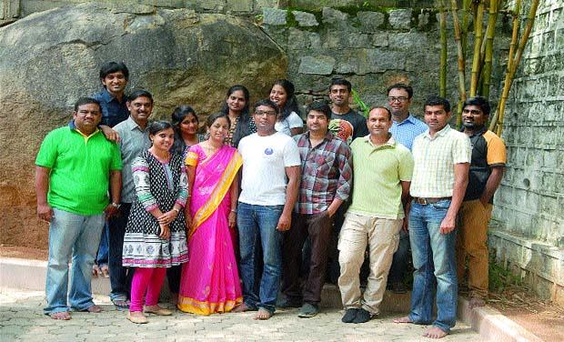 Come dine with us: (From left, front row): Suman, Suma, Asha, Gopi, Subbu, Shiva.  (Back row): Krishnakanth, Radha Krishna, Dedeepya, Swathi, Madhurya, Srinivas, Ravi & Nagarjuna