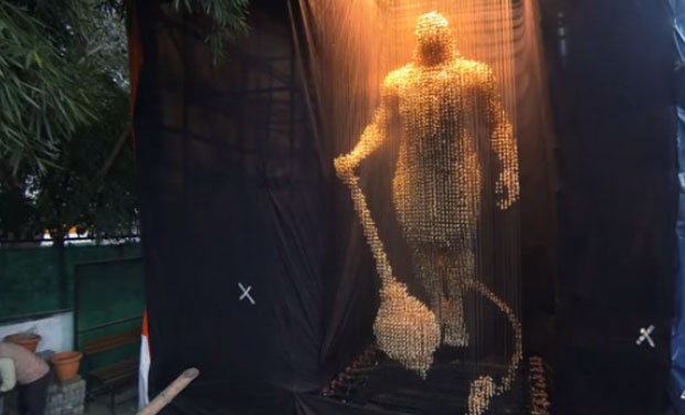 Hanuman sculpture made out of bells. (Photo: Video grabs)