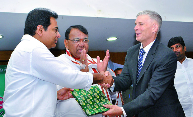 Minister for IT and Panchayati Raj K.T. Rama Rao (left), minister for agriculture Pocharam Srinivas Reddy(centre) and Icrisat director general Dr David Bergvinson (right) at the tripartite MoU signing in Hyderabad on Tuesday. (Photo: DC)