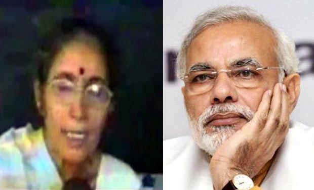 Jashodaben and Narendra Modi. Photo: DC/PTI
