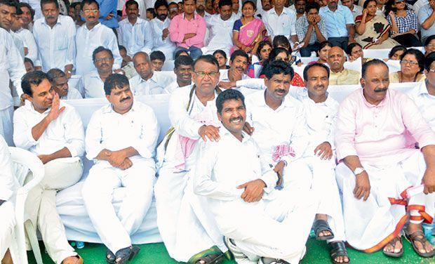 Telangana Cabinet ministers (from left) K.T. Rama Rao, Mahender Reddy, Pocharam Srinivas Reddy, T. Rajaiah (sitting in front), E. Rajender and N. Narasimha Reddy, (Photo: Gandhi)