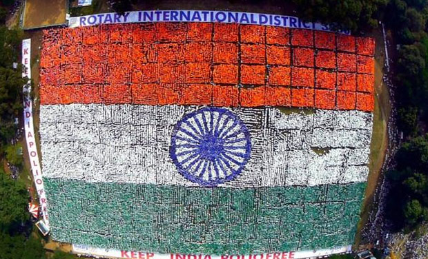 The Guinness World Record for the largest human flag was previously held by the Sports Club of Lahore with 28,957 people forming the flag, ISAK Nazar, Governor of Rotary 3230 and organiser of the 'My Flag My India' campaign said. (Photo: PTI)