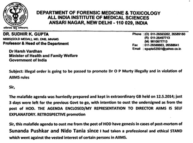 Was Asked To Give False Autopsy Report Of Sunanda Pushkar Alleges Doctor
