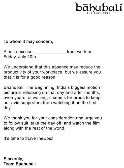 Makers of baahubali issue leave letters for movie lovers take a look at the letter here thecheapjerseys Images