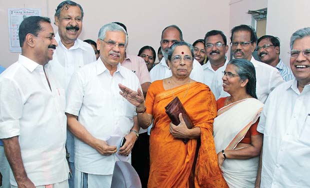 Kozhikode Municipal Corporation mayor V.K.C. Mammed Koya and other leaders ahead of his election on Wednesday. (Photo: DC)