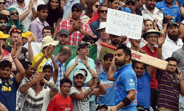 India batsman Virat Kohli returns to the pavillion after scoring a brilliant century, his 22nd and first by an Indian against Pakistan in a World Cup. (Photo: Twitter)