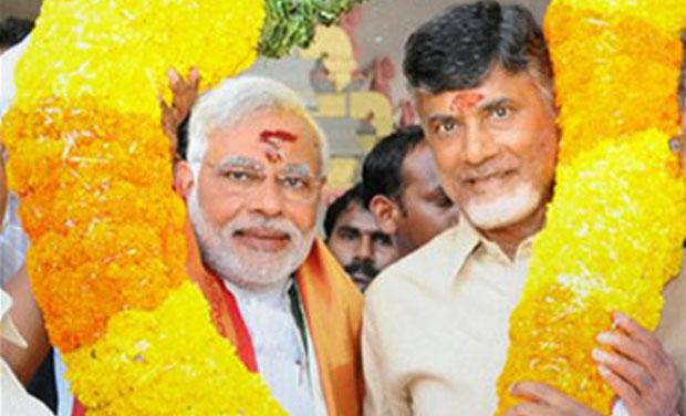 BJP's Narendra Modi and TDP chief N. Chandrababu Naidu (Photo: PTI)
