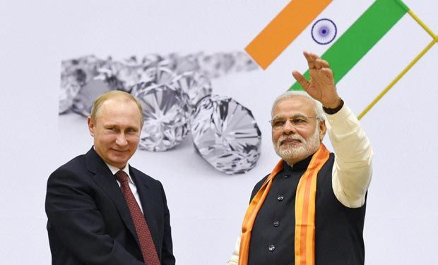 Prime Minister Narendra Modi and Russian President Vladimir Putin during the World Diamond Conference in New Delhi on Thursday. (Photo: PTI)