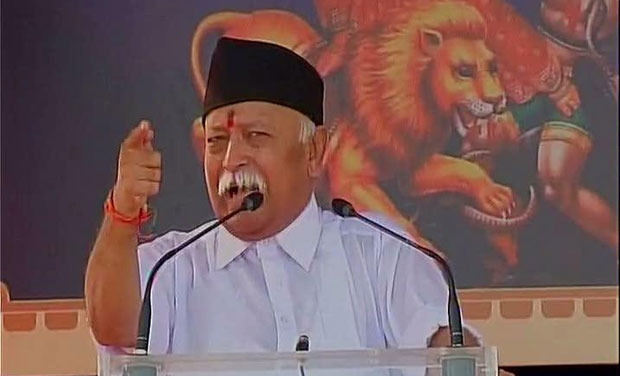 RSS chief Mohan Bhagwat giving customary Dusshera address to RSS workers at Reshmbagh ground, Nagpur (Photo: ANI Twitter)