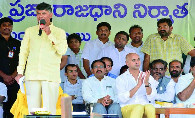 AP Chief Minister N Chandrababu Naidu at an event for land pooling for the Andhra Pradesh capital (Photo: DC/File)