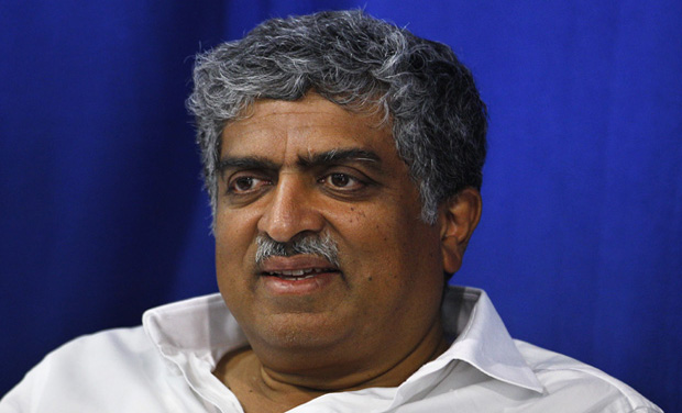Congress party candidate and former Chairman of Unique Identification Authority of India Nandan Nilekani attends a function at an old age home on the last day of election campaigning of his constituency in Bangalore (Photo: AP)