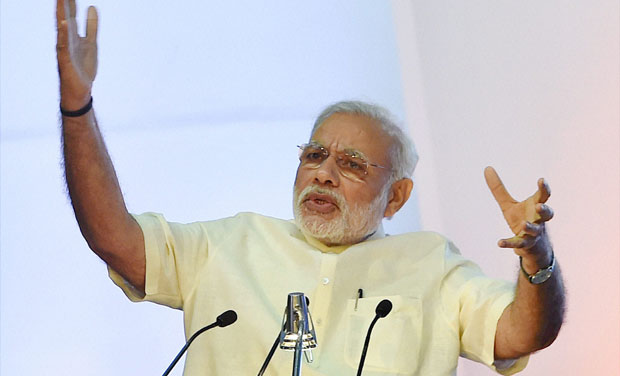 Prime Minister Narendra Modi speaks during the Global Exhibition on Services at Pragati Maidan, in New Delhi (Photo: PTI)