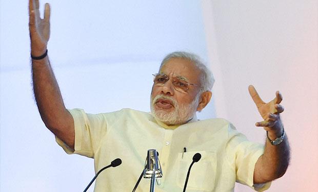 Prime Minister Narendra Modi speaks during the Global Exhibition on Services at Pragati Maidan, in New Delhi (Photo: PTI)