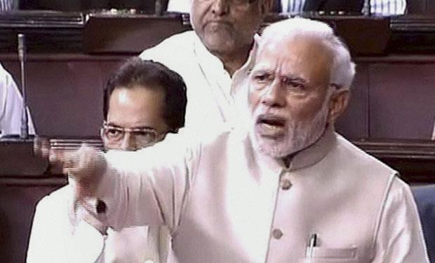 Prime Minister Narendra Modi speaks in the Rajya Sabha in New Delhi on Tuesday (Photo: PTI)