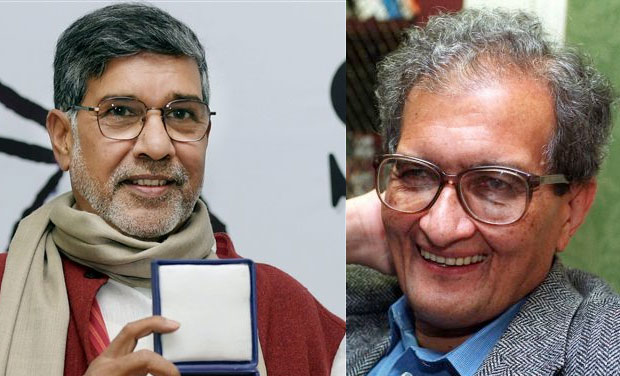 Kailash Satyarthi (left) and Amartya Sen (Photo: AP)
