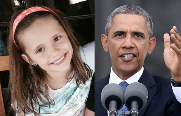 Sofia, the 9-year-old girl who wrote a letter to US President Obama (Left). US President Barack Obama (Right) (Photo courtesy for Sofia: Kim B (Sofia's mother/TIME) and US President Obama (AP)