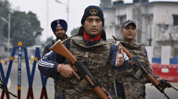 Soldiers stand guard at the airbase in Pathankot, Punjab (Photo: AP)