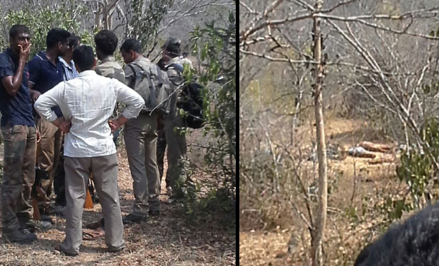 Police officials standing at the encounter site. (Photo: Deccan Chronicle)
