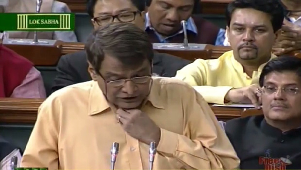 Railway Minister Suresh Prabhu presenting Modi Government's maiden Rail Budget (Photo: video grab)
