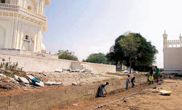 The 16th century enclosure wall that was discovered during conservation works at Qutub Shahi tombs on Tuesday. (Photo: DC)