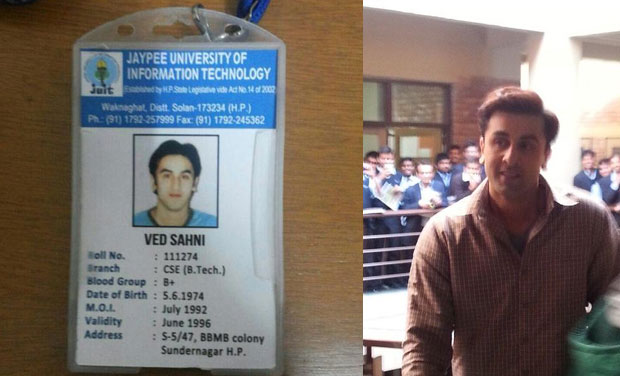 The picture of Ranbir's character's id card from the film 'Tamasha'.
