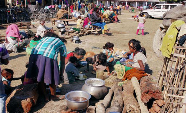 Victims of the recent violence by NDFB(S) militants at a relief camp in Sonitpur district of Assam on Tuesday. (Photo: PTI)