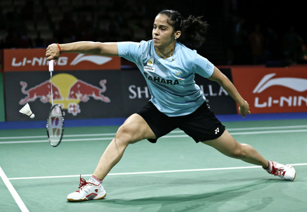 Saina Nehwai plays a shot during her match at the World Badminton Championships at Ballerup Arena, Denmark. Photo: AP