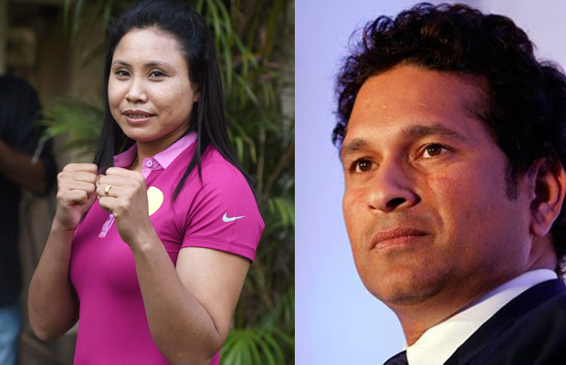 L Sarita Devi (L) received support from cricket legend Sachin Tendulkar during the time of the podium controversy at Incheon (Photo: PTI/File)