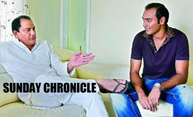 Azhar and his son Asaduddin at their home in Hyderabad