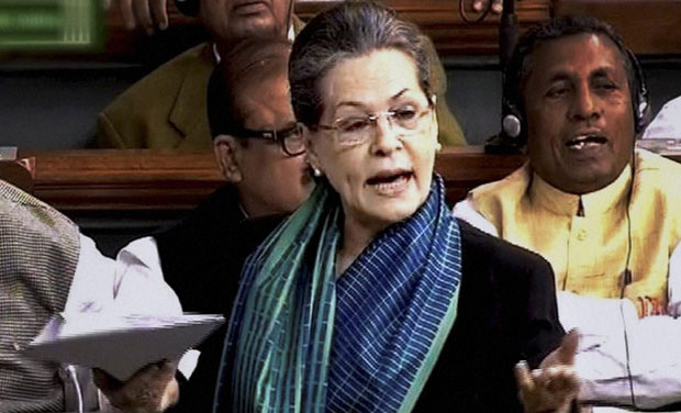 Congress president Sonia Gandhi in Lok Sabha during the first day of winter session of Parliament. (Photo: PTI)