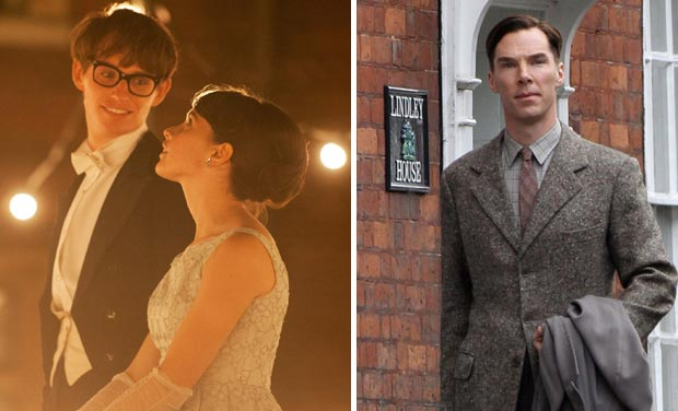 Eddie Redmayne and Felicity Jones in The Theory of Everything; Benedict Cumberbatch in The Imitation Game.