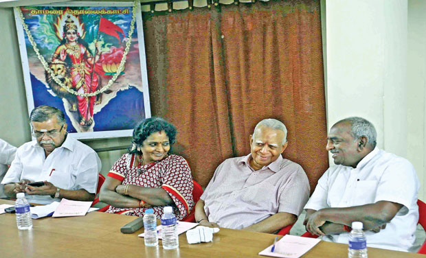 Senior TNA leader R. Sampanthan pitched for an amicable solution to the Lankan Tamils issue as per 13th amendment at a meeting with BJP leaders  Union minister Pon Radhakrishnan, state president Dr Tamilisai Soundararajan and L. Ganesan at