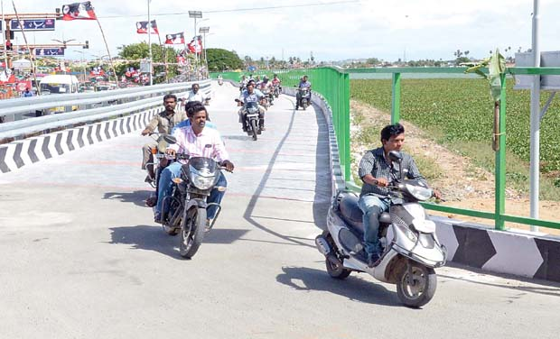 Two-wheeler lane along the Periyakulam tank in Ukkadam was inaugurated by CM J. Jayalalithaa. 	(Photo: DC)