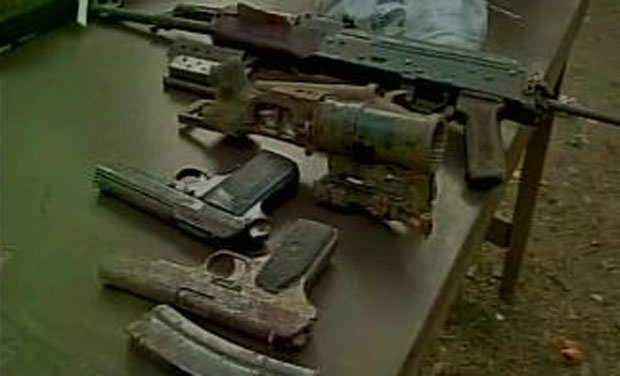 The hoard recovered included some Pakistan-made pistols and 20 kilograms of RDX. (Photo: Twitter)