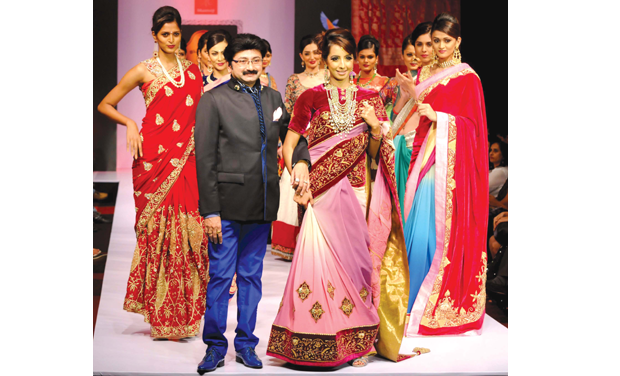 A file picture of actress Sanjjanaa who was the showstopper for designer Ashok Maanay last year.