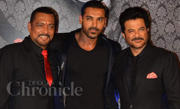 Actors Nana Patekar, John Abraham, Anil Kapoor and director Anees Bazmee, unveiled the trailer of their movie 'Welcome Back' in Mumbai on Monday. Photo: Viral Bhayani