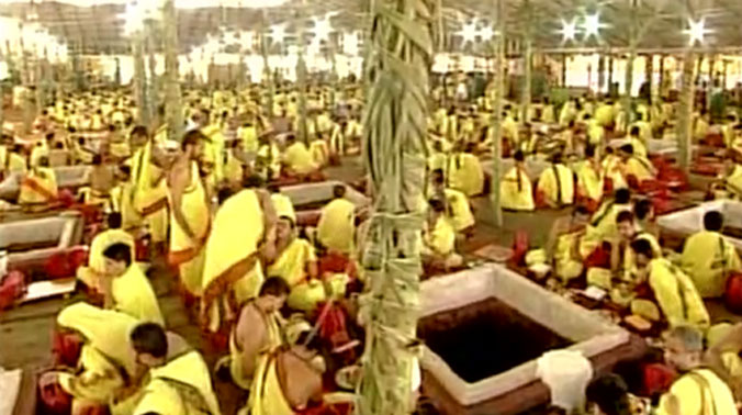 About 2,000 priests from Telangana, AP and other states are taking part in the mega 'yagam'. (Photo: Twitter)